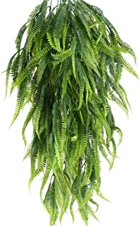 MHMJON 2 Pcs 33.5 Inches Artificial Hanging Plants Outdoor UV Resistant Plastic Fake Hanging Boston Fern Vines for Wall Indoor Hanging Baskets Kitchen Home Garden Wedding Garland Decor