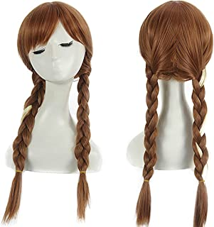 Child Kids Rapunzel Wig Long Brown Braided Wig Girls Cosplay Costume Wigs S027