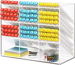 Marbrasse Clear Pen Organizer Storage, Acrylic Desk Organizer with 12 Compartments, Pen Organizer for Desk, Desktop Art Organizer for Office School Art Supplies (Acrylic Pen Holder)