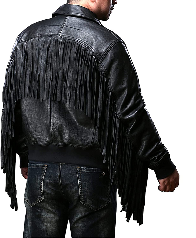 WMJL Mens Fringed Hide Leather Western Cowboy Genuine Cowhide Tasseled Motorcycle Jacket Bomber Retro Biker Outwear Coat,L