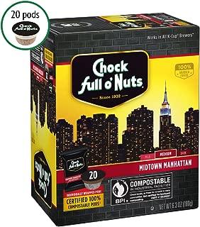 Chock Full o'Nuts Coffee, Midtown Manhattan Medium Roast, Single Serve Coffee Cups, 20 Count, 6.3 Oz