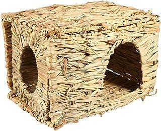ueetek Natural hecho a mano hierba Hut cama casa paja hierba pájaro Cubby nido jaula para conejo conejo hámster de jerbo Chinchillas