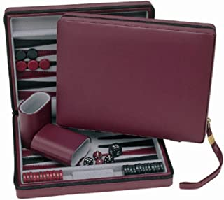 WE Games Burgundy Magnetic Backgammon Set with Carrying Strap - Travel Size