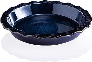 Ceramic Pie Pan, Jemirry 9.5 Inches Pie Plate Pie Dish Round Baking Dish Quiche Tart Cake Pan- Reactive Glaze Nebula Blue