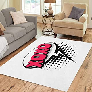 Pinbeam Area Rug Lettering XOXO Kiss Slang Comic Text Sound Effects Home Decor Floor Rug 5' x 7' Carpet