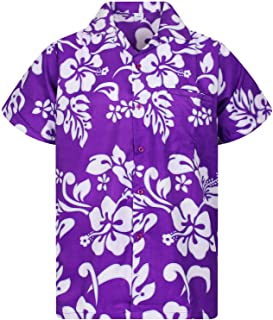 V.H.O. Funky Hawaiian Shirt Men Short-Sleeve Front-Pocket Hibiscus Multiple Colors