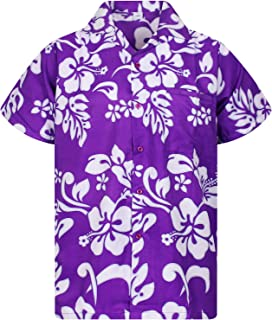 Funky Hawaiian Shirt Men Short-Sleeve Front-Pocket Hibiscus Multiple Colors