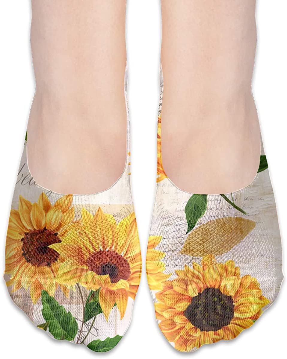 No Show Socks Women Men For Vintage Sunflower Floral Flats Cotton Ultra Low Cut Liner Socks Non Slip