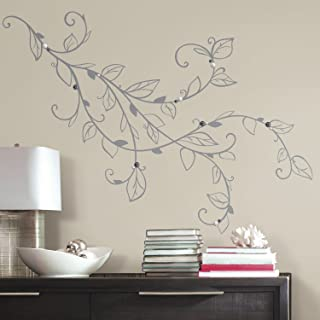 RoomMates Silver Leaf Giant Peel And Stick Wall Decals With Pearls