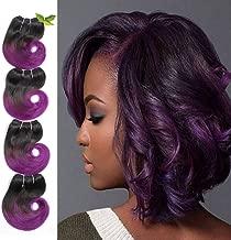 Ombre 1b Purple Human Hair Re4U Short Body Wave Bundles Two Tone Brazilian Hair 6