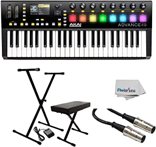 Akai Professional Advance 49-49-Key MIDI Keyboard Controller with Keyboard Stand/Bench Pak with Sustain Pedal + Cable - Clean Cloth (49-Key)