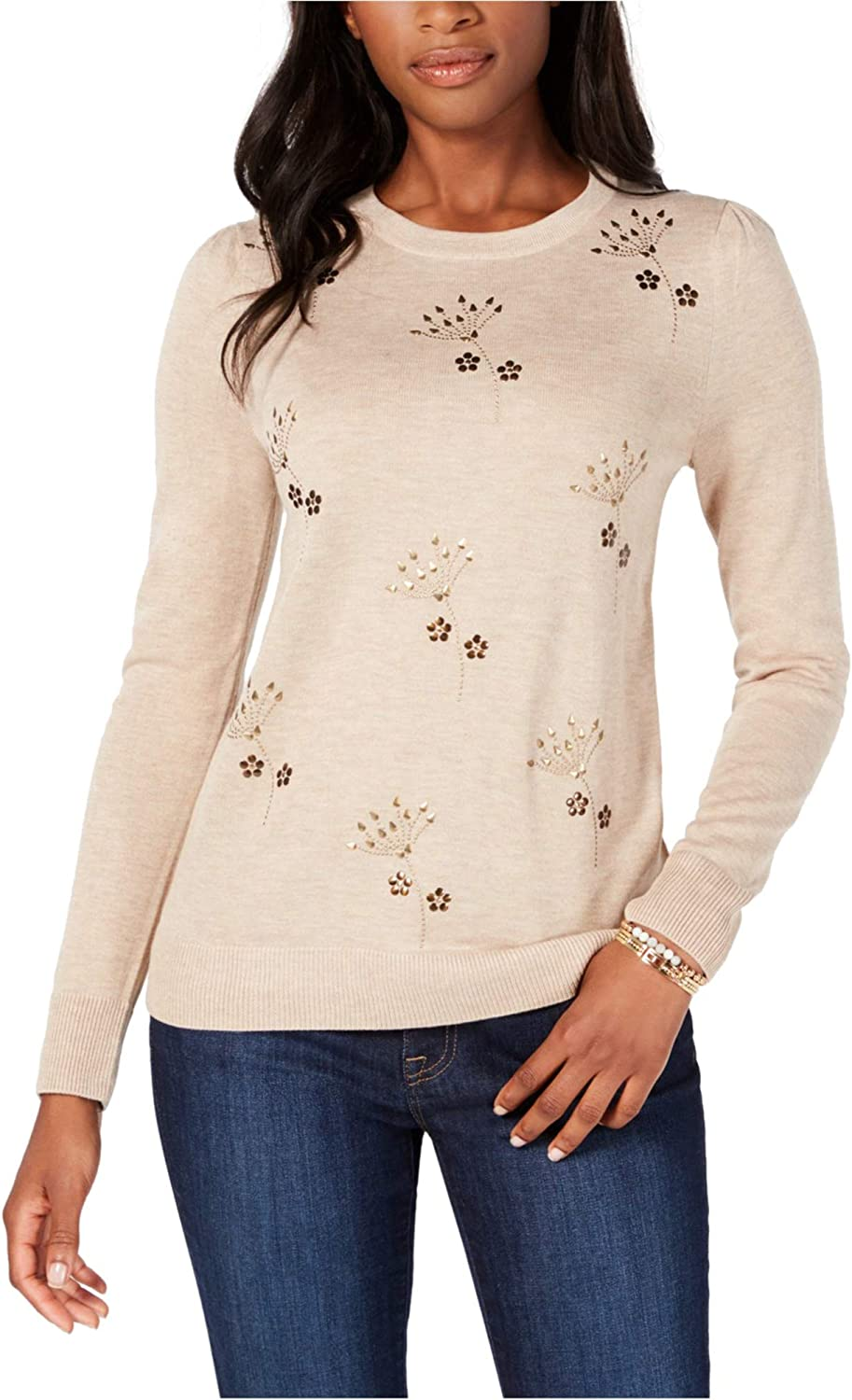 Tommy Hilfiger Womens Embellished Pullover Sweater
