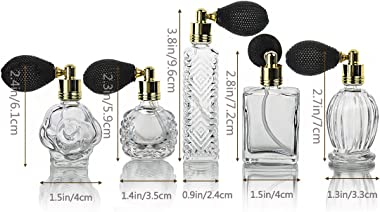 H&D HYALINE & DORA Clear Art Carved Crystal Empty Mini Refillable Perfume Bottle with Short Spray Atomizer Set of 5