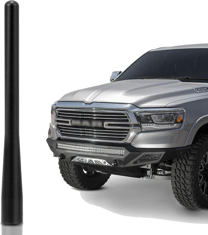 KSaAuto 4.5 inch Short Antenna Mast Compatible with Dodge Ram 1500 Trucks & Ford F-150 (2009-2021) Carwash Safe(Black)