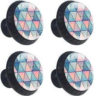 EZIOLY Mandalas en azul rosa turquesa fondo púrpura 4 piezas pomos de cristal cajón forma circular tirador con tornillos p...