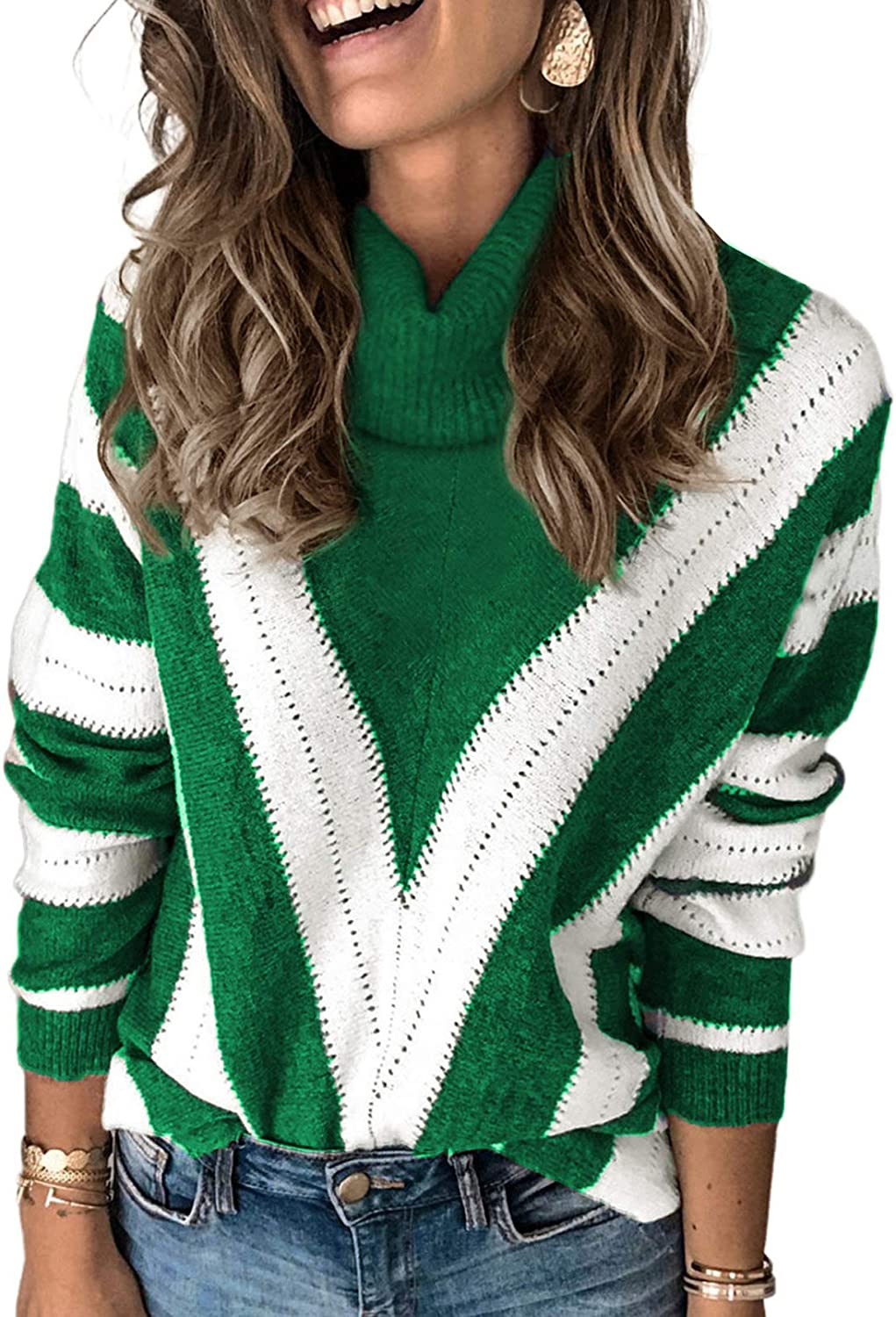 Aleumdr Womens Long Sleeve Color Block Sweater Casual Crewneck Pullover Fall Winter Knit Jumper Tops