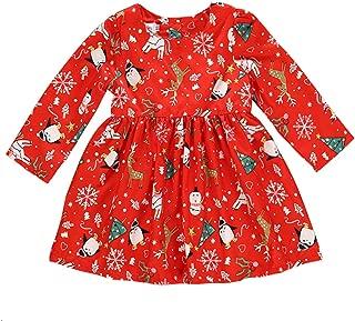 GRNSHTS Toddler Girls Christmas Dress Kids Ruffle Cartoon Painting Long Sleeve Santa Claus Playwear Xmas Costume Clothing