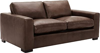"""Amazon Brand – Stone & Beam Westview Extra-Deep Down-Filled Leather Sofa Couch, 89""""W, Brown"""