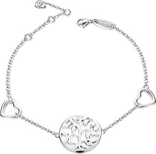 925 Sterling Silver Tree of Life Link Bracelet for Women Girls Heart Charms Bracelets Adjustable