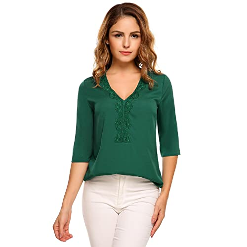 8c36377698 ThinIce Womens Chiffon Blouse Casual Solid Lace Patchwork Wear to Work Tops