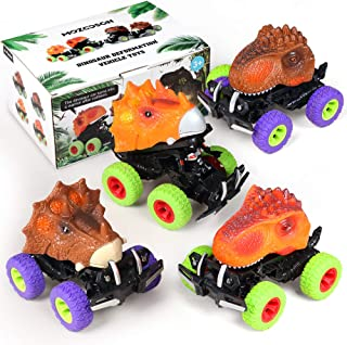 Dinosaur Toys, Kids Toys for Boys Girls Gift, 4 Pack Car Toys for 1 2 3 4 5 6 Year Old, Dinosaur Car with Big Tire Wheel, Push and Go Friction Powered Dinosaur Vehicle Set