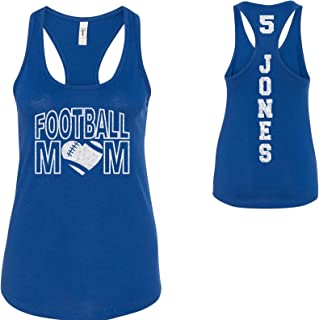 Custom Personalized Football Mom Glitter Women's Tank Top Support Your Team Son Any Number Any Colors Spirit Wear