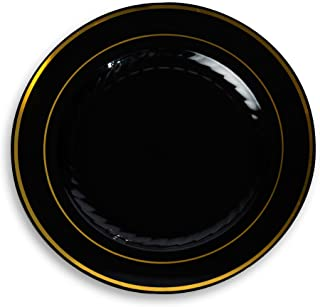 "Fineline Settings Silver Splendor Black With Gold Round China-Like 10"" Plate  120 Pieces"