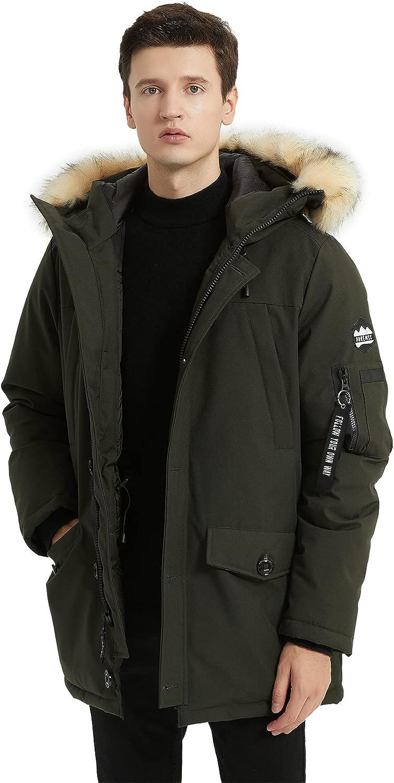 PUREMSX Men's Down Alternative Jacket Hood Ranking TOP3 Insulated Thicken Fur Max 45% OFF