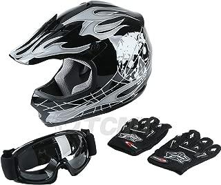 TCMT Dot Youth & Kids Motocross Offroad Street Helmet Black Skull Motorcycle Helmet Silver Dirt Bike Helmet+Goggles+gloves M
