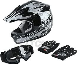 TCMT Dot Youth & Kids Motocross Offroad Street Helmet Black Skull Motorcycle Helmet Silver Dirt Bike Helmet+Goggles+gloves S