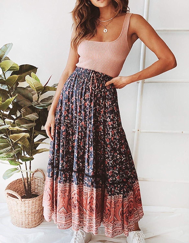 R.Vivimos Womens Summer Cotton Vintage Floral Print Boho Casual ...