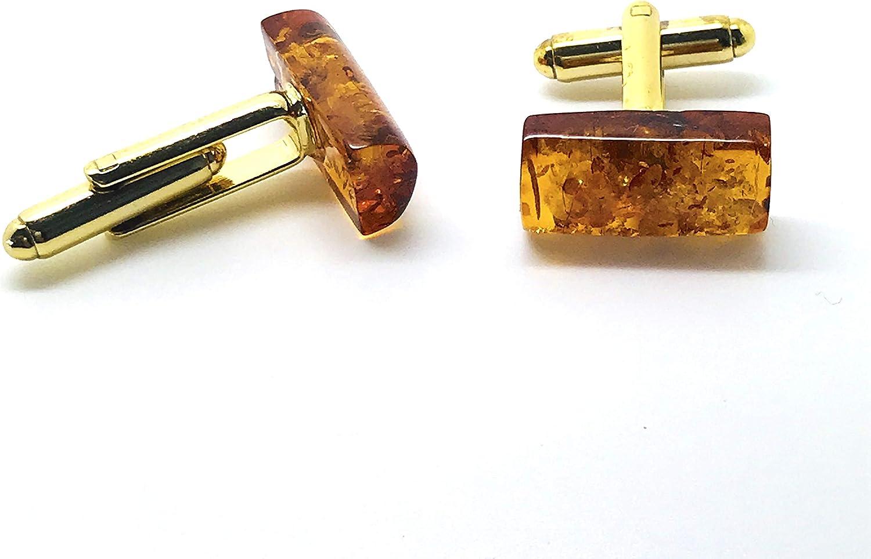 Natural Amber Hand Made Cuff Links, Rare Baguette Shape