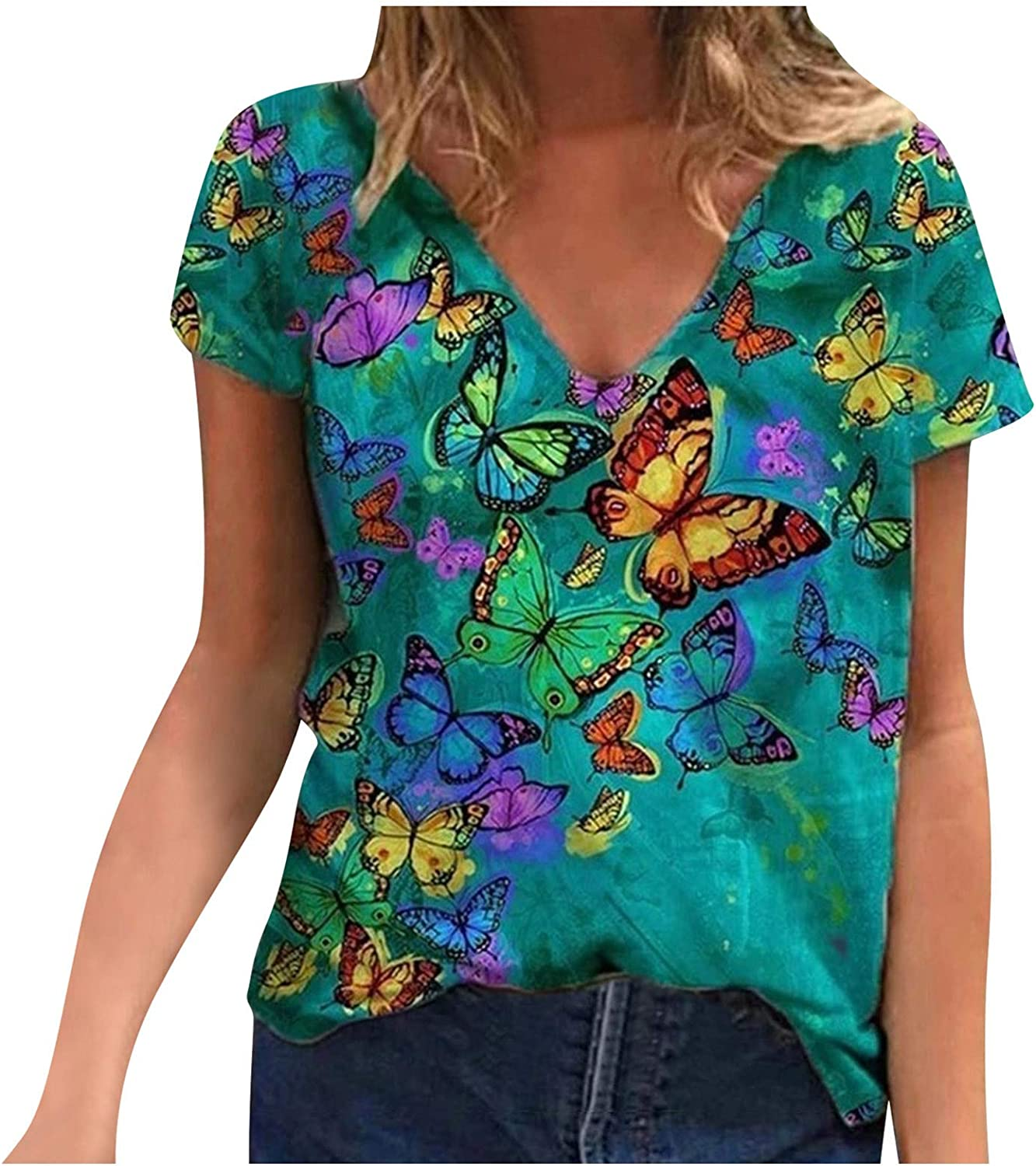 Tops for Women Plus Size,AODONG Shirts for Women Fashion Round Neck Love Printed Tee Shirt Casual Short Sleeve T-Shirt Top Blouses