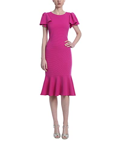 Badgley Mischka Faille Fit Flounce Dress Women
