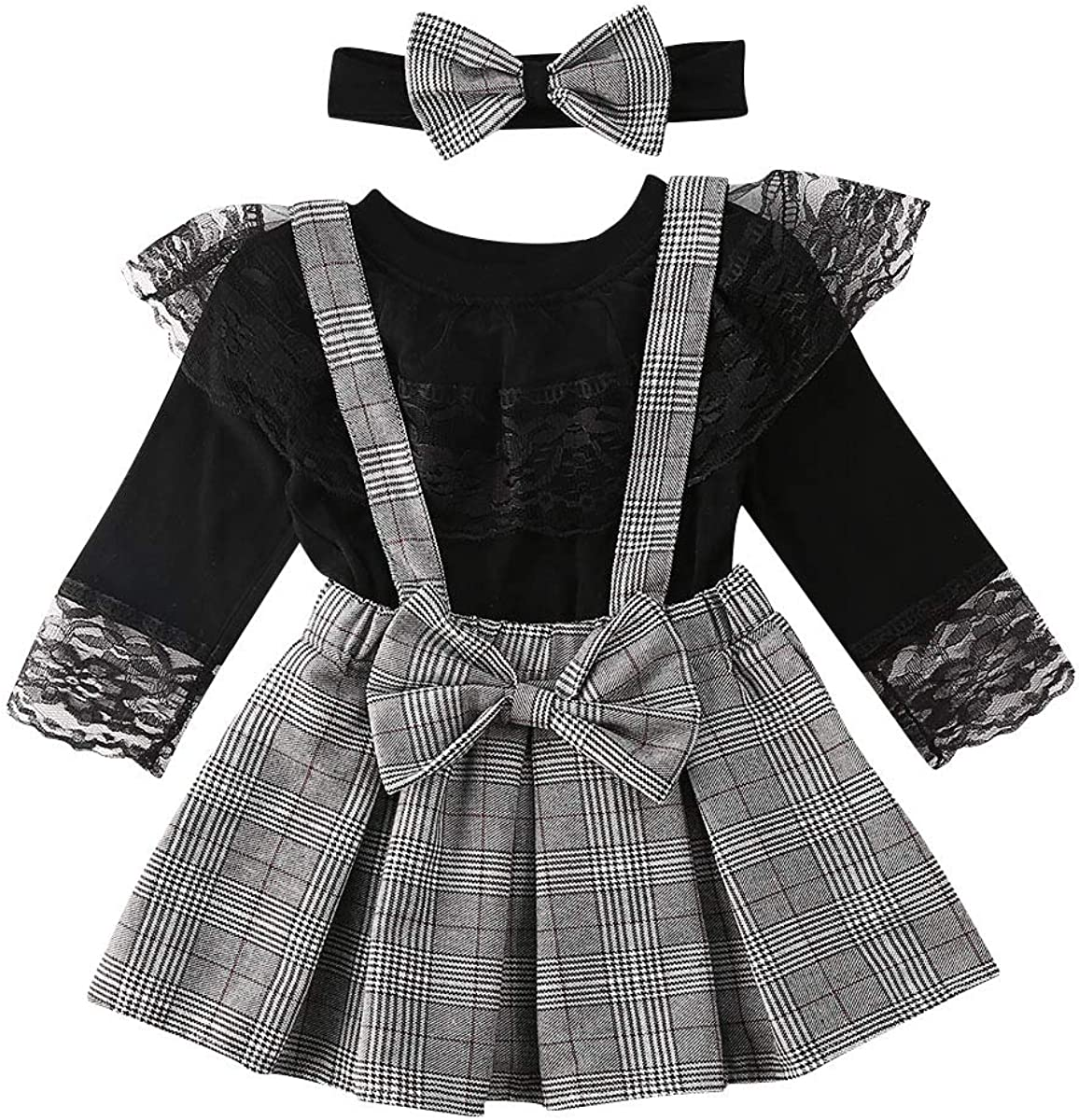 Little Brother Big Sister Outfits Lattice Long Sleeve Matching Toddler Romper Suspender Pants Tops Overall Skirt