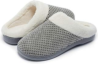 Kuako Zapatillas de Estar por casa con Forro de vellón para Mujer Antideslizantes Espuma de Memoria para Interiores Zapato...