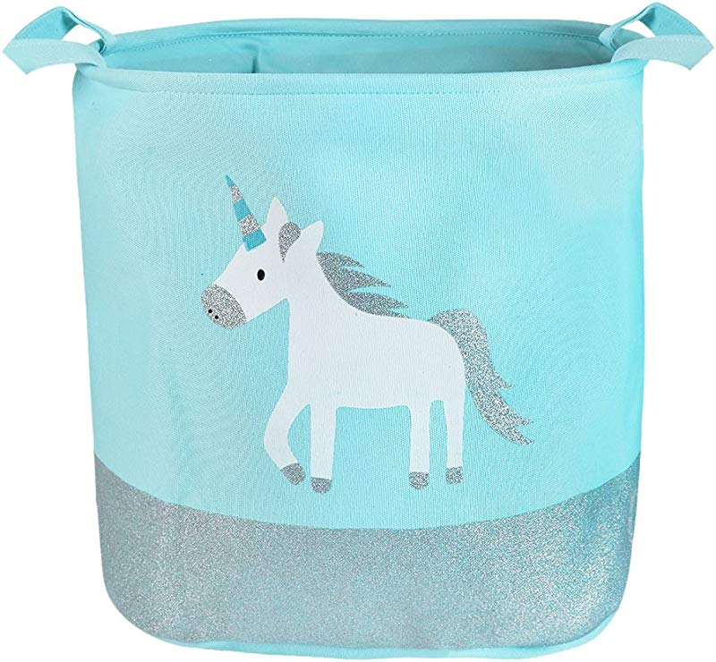 Urijk Unicorn Toy Storage Basket Baby Girl Unicorn Laundry Hamper Nursery Storage Basket Waterproof Cute Cartoon Round Canvas Foldable Toy Storage Organizer For Office Bedroom Dorm Blue Unicorn
