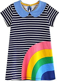 f02df606b7d VIKITA 2018 Toddler Girls Summer Dresses Short Sleeve Outfit 3-8 Years