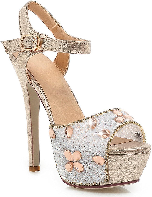 DoraTasia Women's PU Peep Toe Ankle Strap Stiletto shoes High Heel Platform Buckle Sandals Pumps Size 4 5 6 6.5 7.5 8.5 9 9.5 10