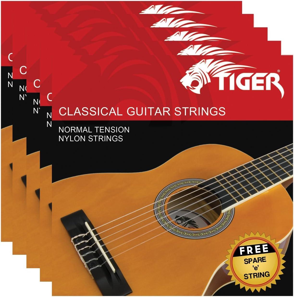 Tiger - Juego de cuerdas para guitarra clásica (5 unidades)