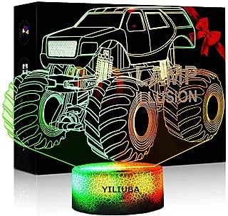 YILIUBA LED Night Lights Lamp for Children, Colors 3D Optical Illusion Monster Trucks for Boys Room Decor