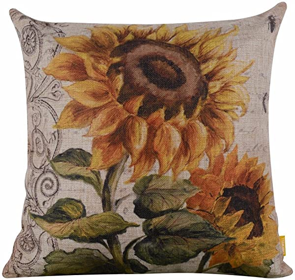 Throw Pillow Covers E Scenery Clearance Sale Vintage Sunflower Square Decorative Throw Pillow Cases Cushion Cover For Sofa Bedroom Car Home Decor 18 X 18 Inch