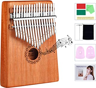 Kalimba 17 Keys Thumb Piano with Study Instruction and Tune Hammer, Finger Piano Christmas Gift for Music Fans Kids Adults