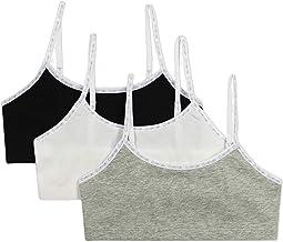 Training Bra Cotton Bralette With Adjustable Straps, 3 Pack
