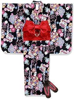 浴衣 こども 女の子 浴衣 セット 100 古典柄 子供浴衣 作り帯 下駄 3点セット「黒 ねじり梅と藤」TSW10-805-setC