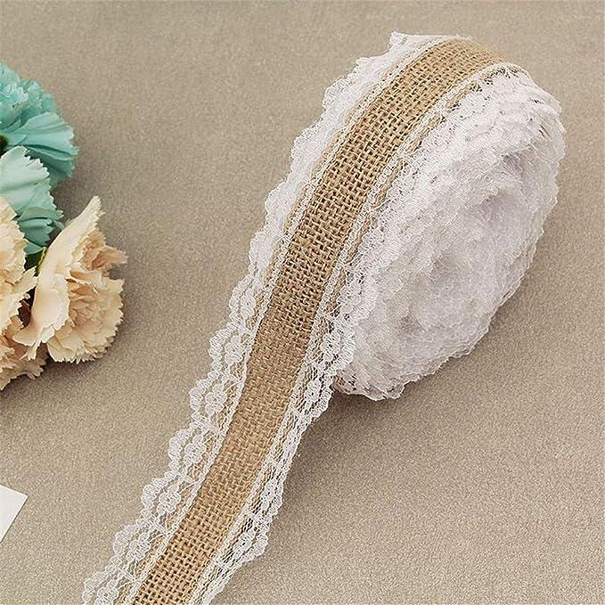 2Meter/Lot 25Mm Natural Jute Burlap Hessian Lace Ribbon With White Lace Trim Edge Rustic Vintage Wedding Centerpieces Decor A04