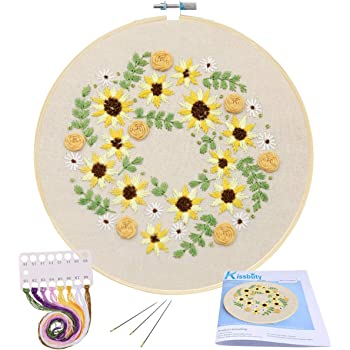 Full Range of Embroidery Starter Kit with Pattern, Kissbuty Cross Stitch Kit Including Embroidery Cloth with Plant Pattern, Bamboo Embroidery Hoop, Color Threads and Tools Kit (Embroidery Kit-14)