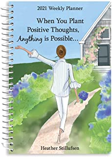 """Blue Mountain Arts 2021 Weekly & Monthly Planner """"When You Plant Positive Thoughts, Anything Is Possible..."""" 8 x 6 in. Spi..."""