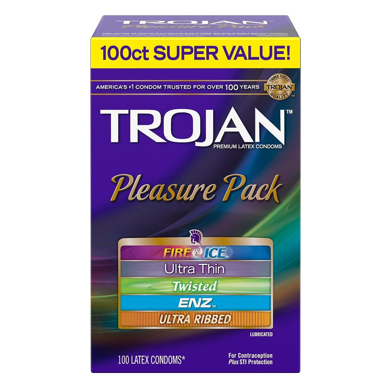 Trojan Pleasure Pack Lubricated Condoms 100ct variety pack