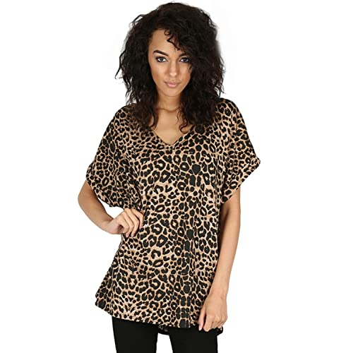 3d61530fe739 Be Jealous Women's Baggy V Neck Turn Up Batwing Sleeve Oversize T Shirt Top